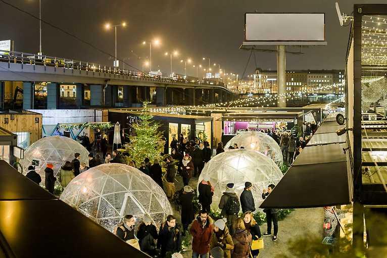 Vyhřívané iglú v Manifesto Winter Market